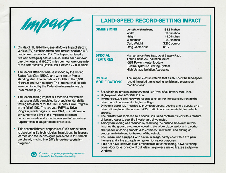 General Motors Impact electric car fact sheet, 1994, back. Includes information on dimensions, special features, and modifications
