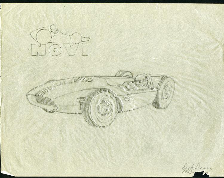 Pencil sketch of the Novi race car