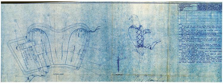Blueprint showing design of pigeon vest