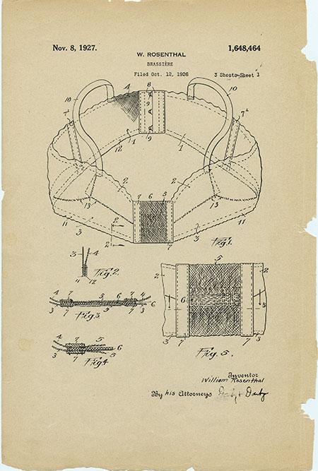 Patent drawing for a brassiere