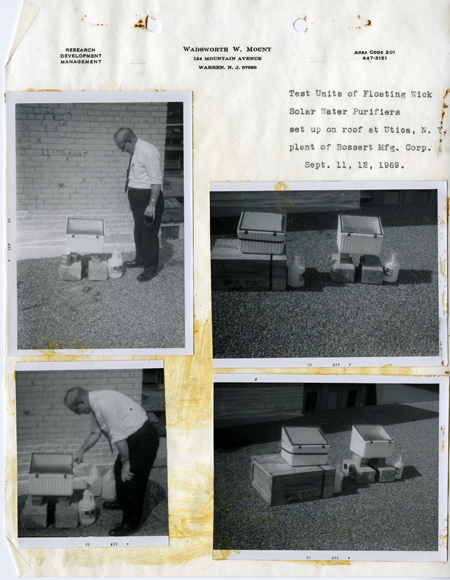 Notebook page wth 4 black-and-white photos glued onto it showing Wadsworth Mount and test units, 1969. Page is titled Test Units of Floating Wick