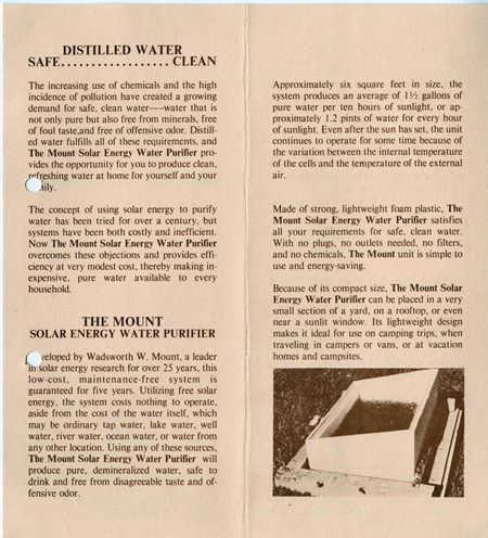 Promotional brochure for Mount solar water purification apparatus