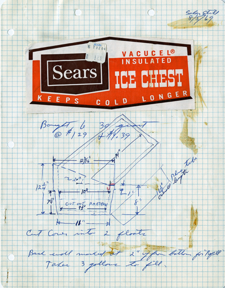 Mount's sketch of water distiller unit, 1969, with label for Sears ice chest pasted onto page