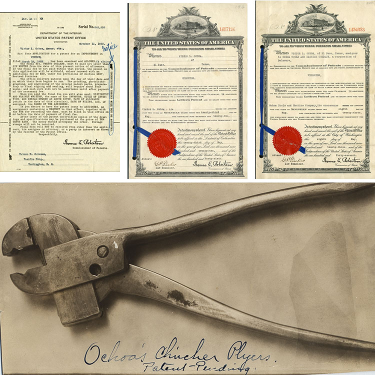 Composite image of patent application, 2 ribbon patents, and a photo of pliers