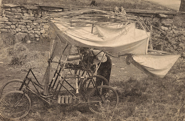 Folded cloth wings on a bicycle frame