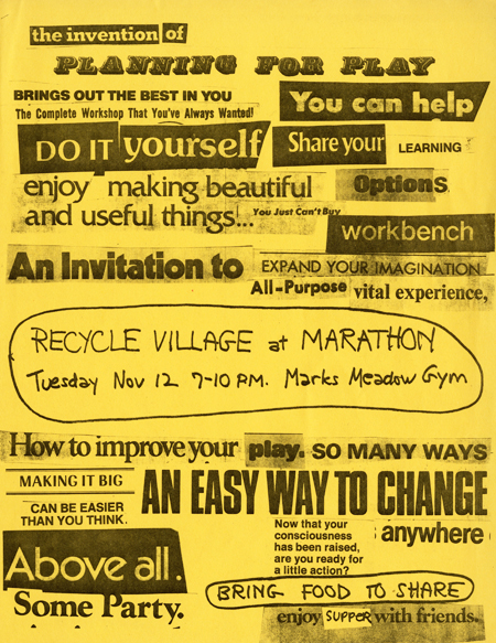 Planning for Play workshop flyer, created in ransom-note style with snippets of published texts from various sources pasted together.
