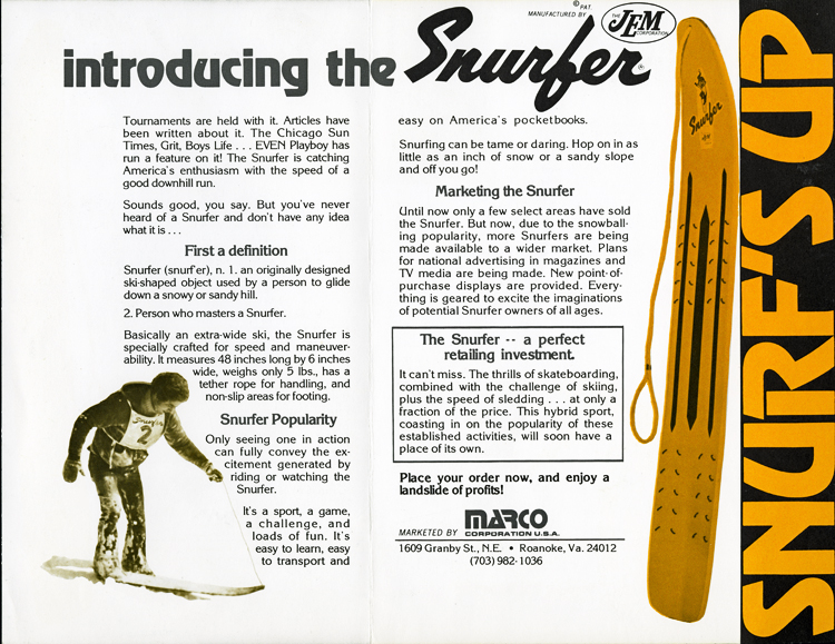 """Introducing the Snurfer"" brochure, depicting an adult male on a Snurfer and reading, in part, ""It's a sport, it's a game, a challenge, and loads of fun."""