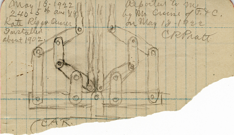 Rough pencil sketch for an articulated elevator equalizer, by Charles R. Pratt. Handwriting on sketch reads, May 18, 1922. 240 5th Ave, N.Y. Rate Rigs Owner. Installed about 1902. Reported by me to Mr. Cruise of F & C on May 18, 1922. C R Pratt.