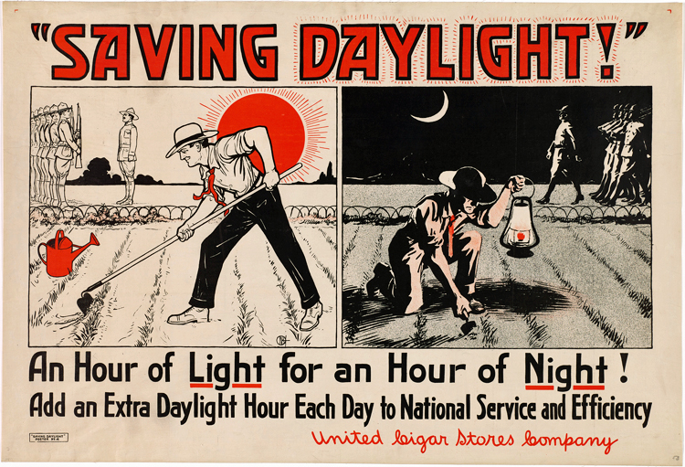 Cartoon-style poster with an image of a man tilling a field by daylight on the left and a man digging with a trowel by night on the right