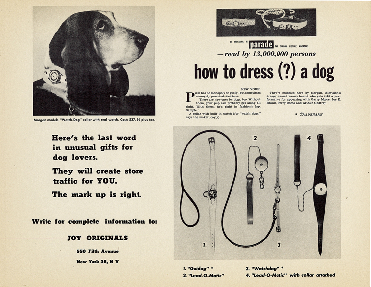 Ad for the dog collar with a built-in watch