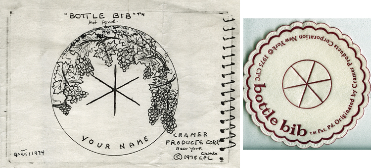 Composite image: sketch on left and final product on right