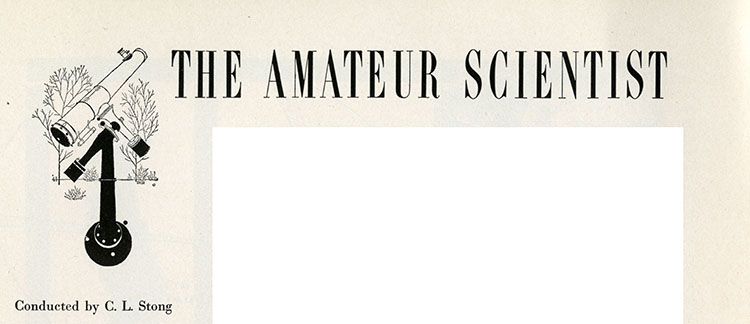 "Text reading ""The Amateur Scientist,"" with a drawing of a telescope"