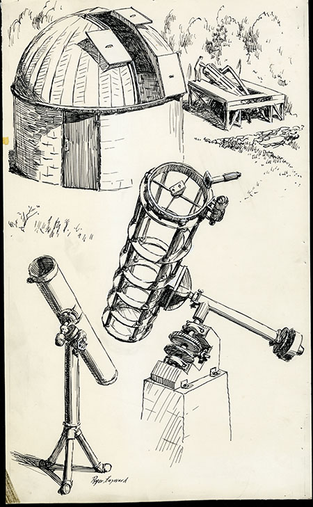 Pen-and-ink sketches of an observatory with its roof open, a telescope, and other astronomical equipment