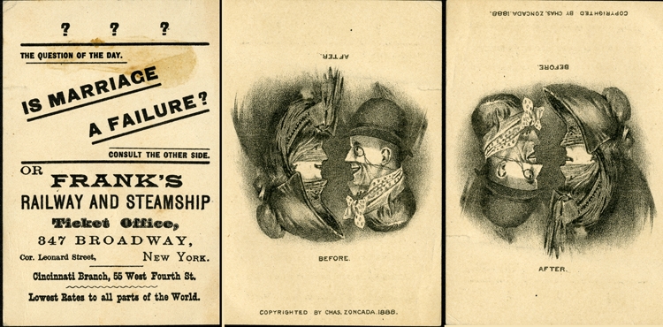 "Trade card, Frank's Railway and Steamship of New York City, ""Is marriage a failure?"" 1888"
