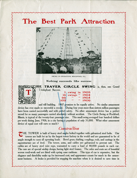 "Print ad for the Traver Circle Swing, ""The Best Park Attraction,"" includes a photo of the swing tower in operation in Rockford, Illinois."