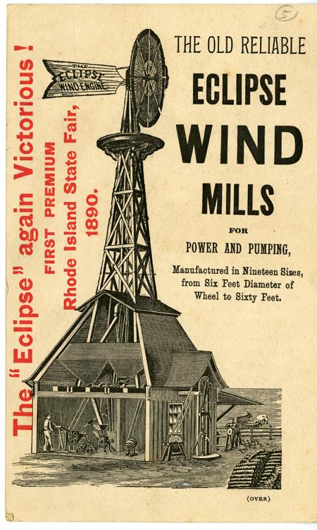 Eclipse Wind Mill trade card, around 1890