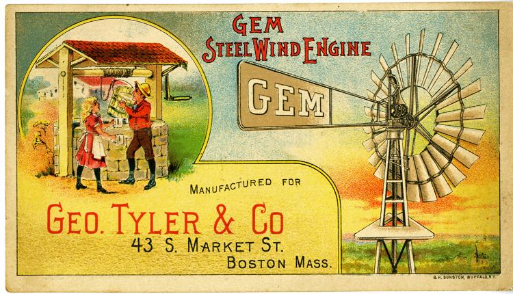 Gem Steel Wind Engine trade card, color, about 1885
