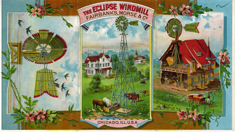 Fairbanks Eclipse Wind Mill brochure, about 1890, illustrated in color with images of windmills, grazing livestock, large Victorian style farmhouse, and cutaway grain mill.