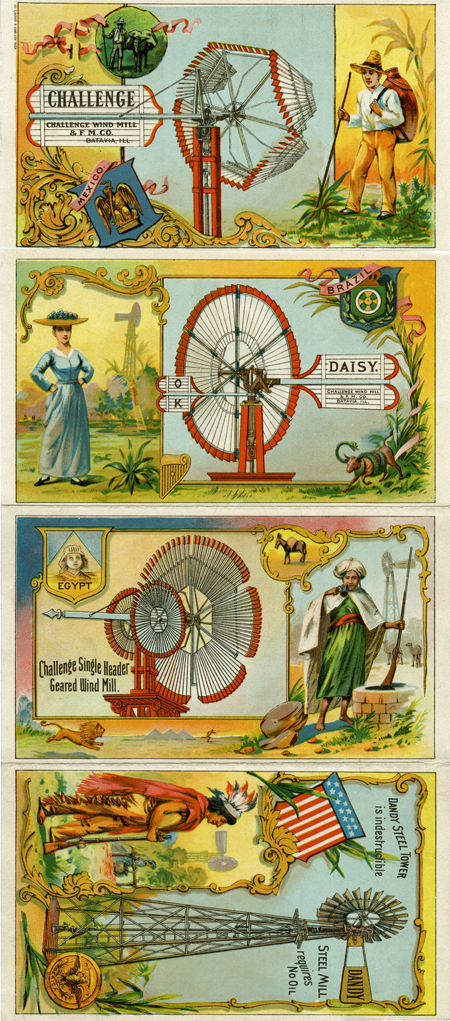 Challenge Wind Mill and Feed Mill Co., Batavia, Illinois, trade card, around 1900, illustrated in color with references to windmills sold and in use in Mexico, Brazil, Egypt, and on a Native American reservation in the US