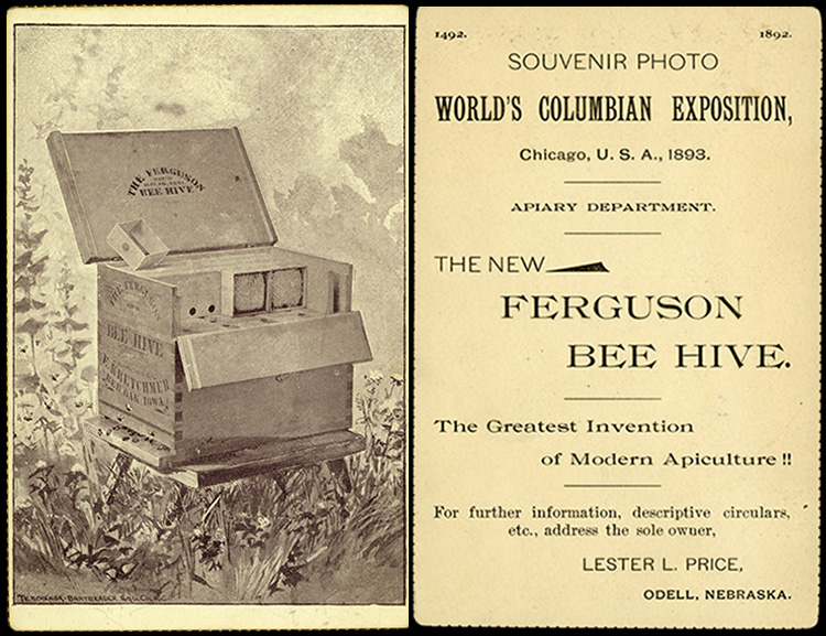 Composite image showing a Ferguson beehive with descriptive text on the back.