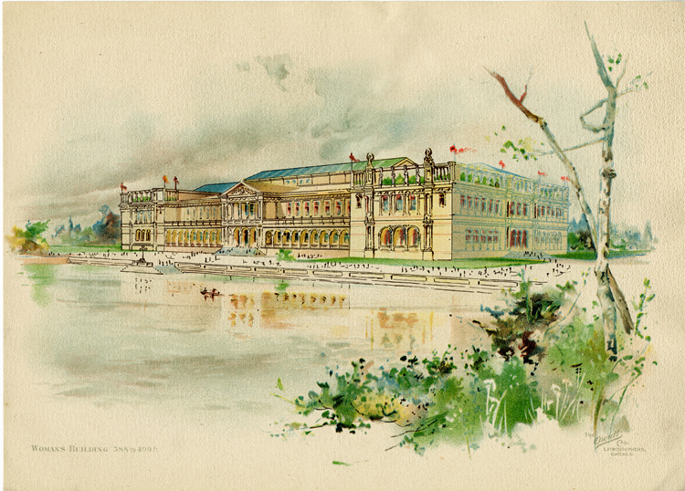 A lithograph of a watercolor painting of the Woman's Building at the World's Columbian Exposition held in Chicago in 1893. The building is longer than it is wide, has two stories, a glass atrium roof, a colonnade on the first story, and observation decks atop the second story at each end. A pond with steps up to the promenade in front of the building sits in front of the building. Some vegetation and two mostly-bare slim tree trunks are visible in the right foreground.