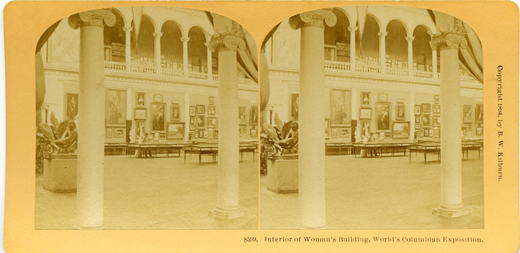 A stereograph card with mounted double photos of the interior of the Woman's Building at the1893 World's Columbian Exposition. Each photo shows part of the first floor of the building, with walls covered in paintings, several flat glass display case on the floor, sculpture, plants, and ionic columns. The second story mezzanine with open balcony is also visible. The side-by-side photos are meant to be viewed through a steroscope to evoke a 3-D view.