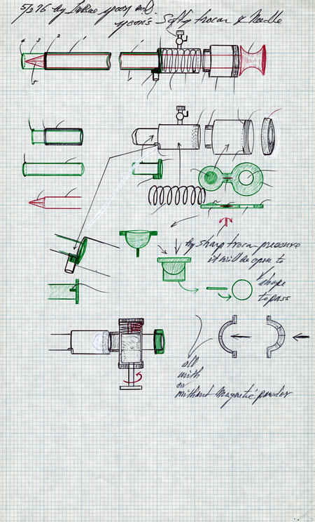 Annotated pen-and-ink drawing on graph paper of components