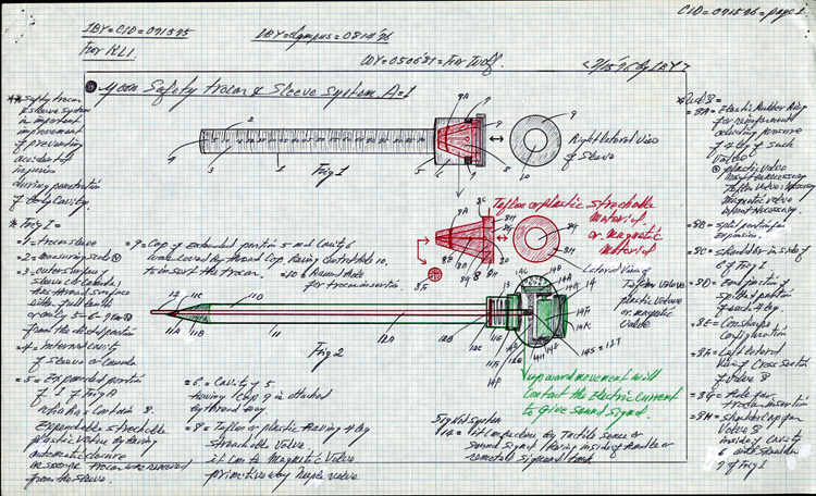 Annotated pen-and-ink drawing on graph paper of a tubular object and a long needle