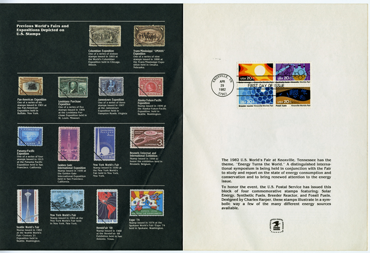 US Postal Service commemorative stamps booklet, 1982. On right are first-day-of-issue stamps depicting solar, nuclear, and fossil and synthetic fuels. On left are 14 stamps depicting a variety of earlier World's Fairs.