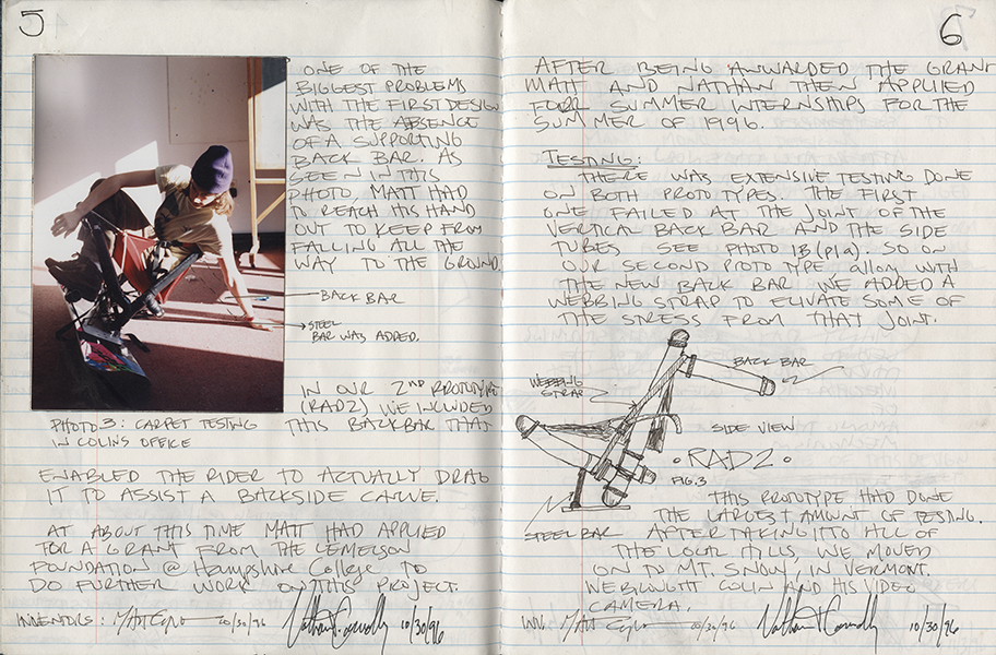 Two pages from Capozzi and Connolly's  invention notebook, noting some of the challenges they faced: One of the biggest problems with the first design was the absence of a supporting back bar.