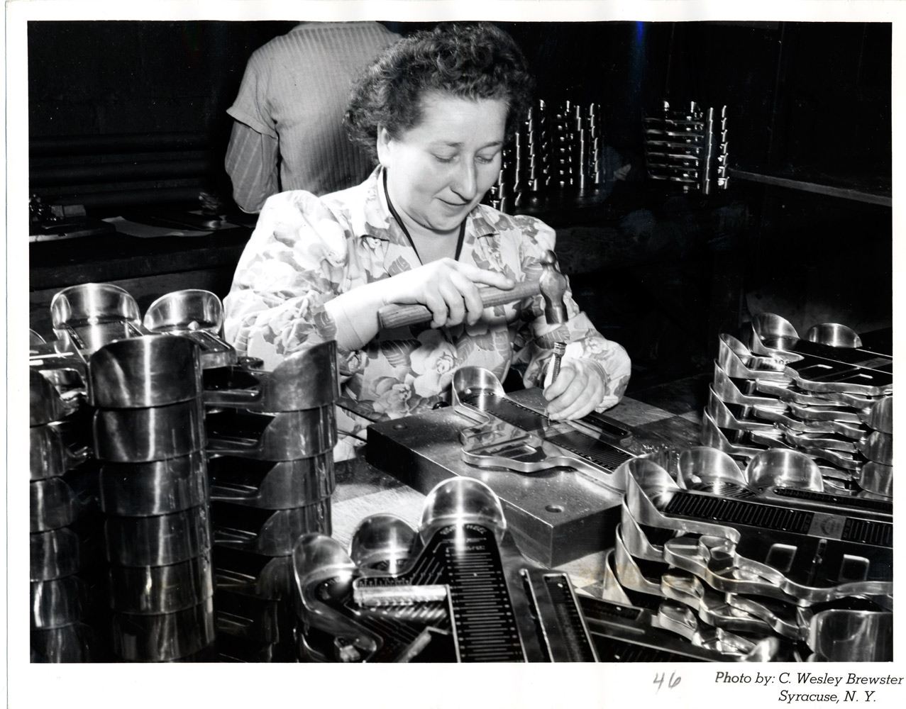 Image of an unidentified worker at the Brannock Device Company
