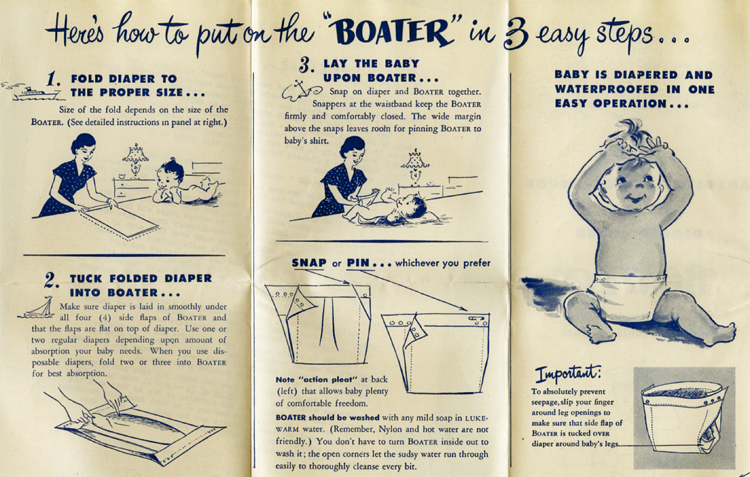 """Boater"" diaper cover advertising, about 1950"