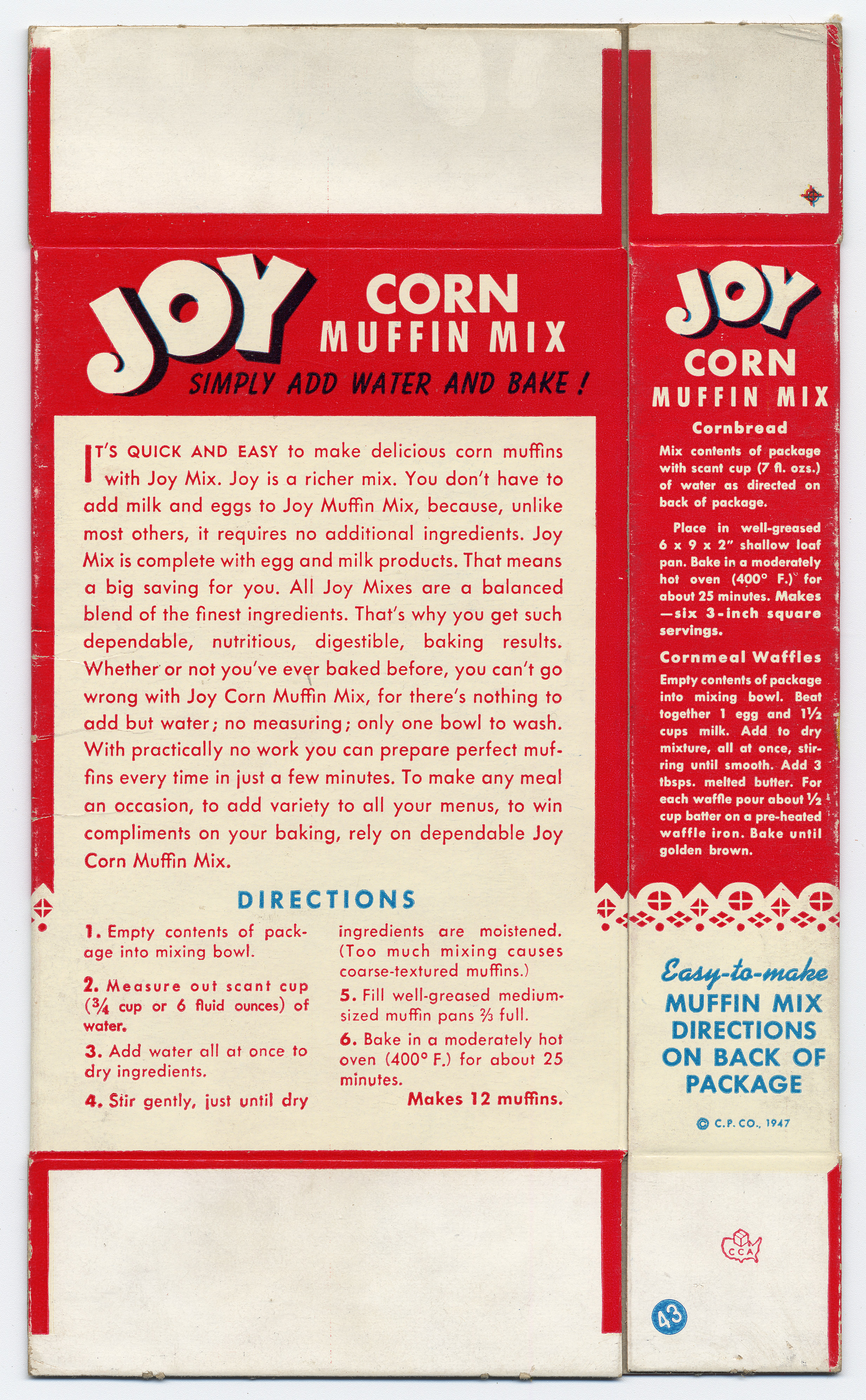 Image of back of Joy brand corn muffin mix box