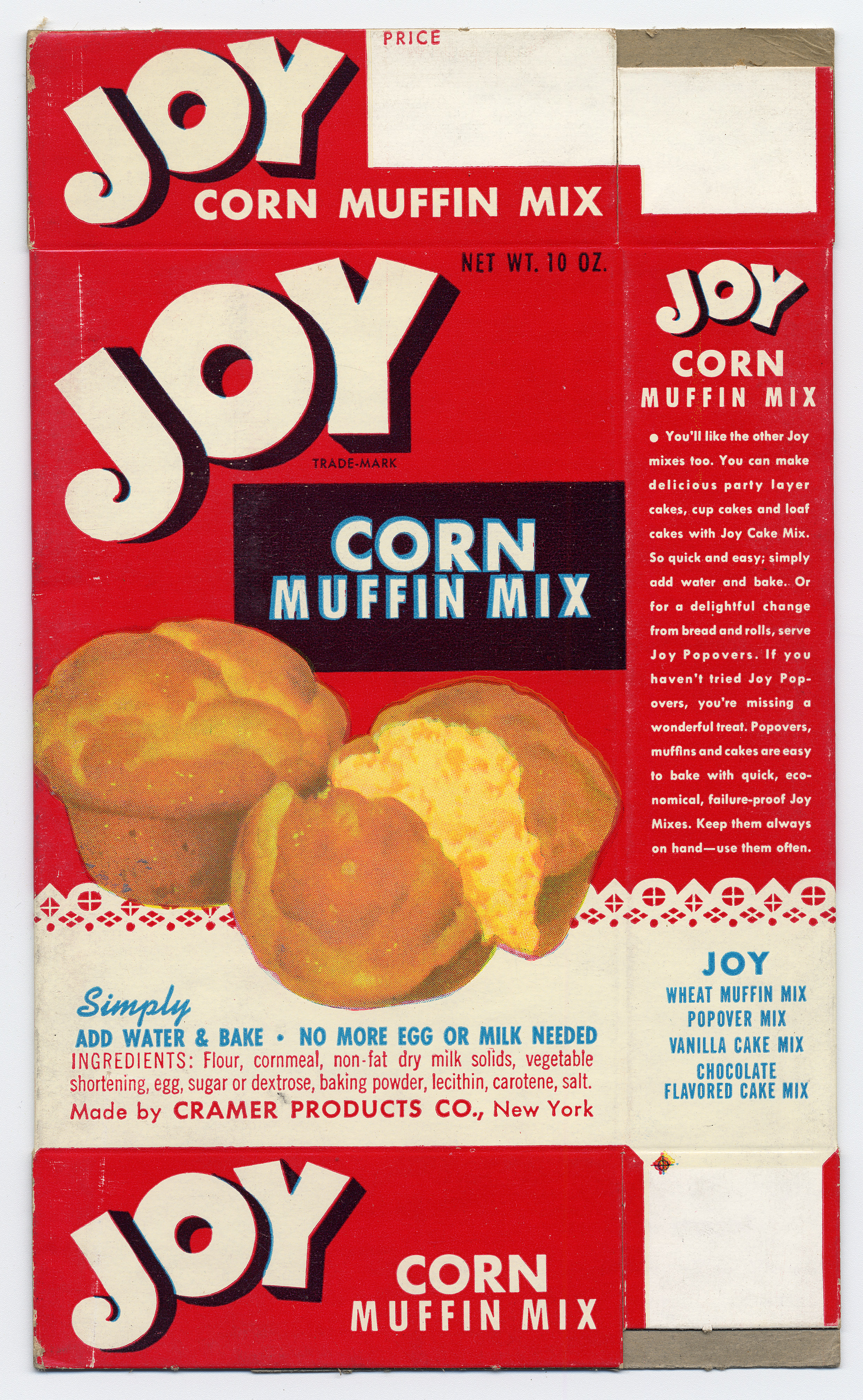 Image of a Joy brand corn muffin mix box