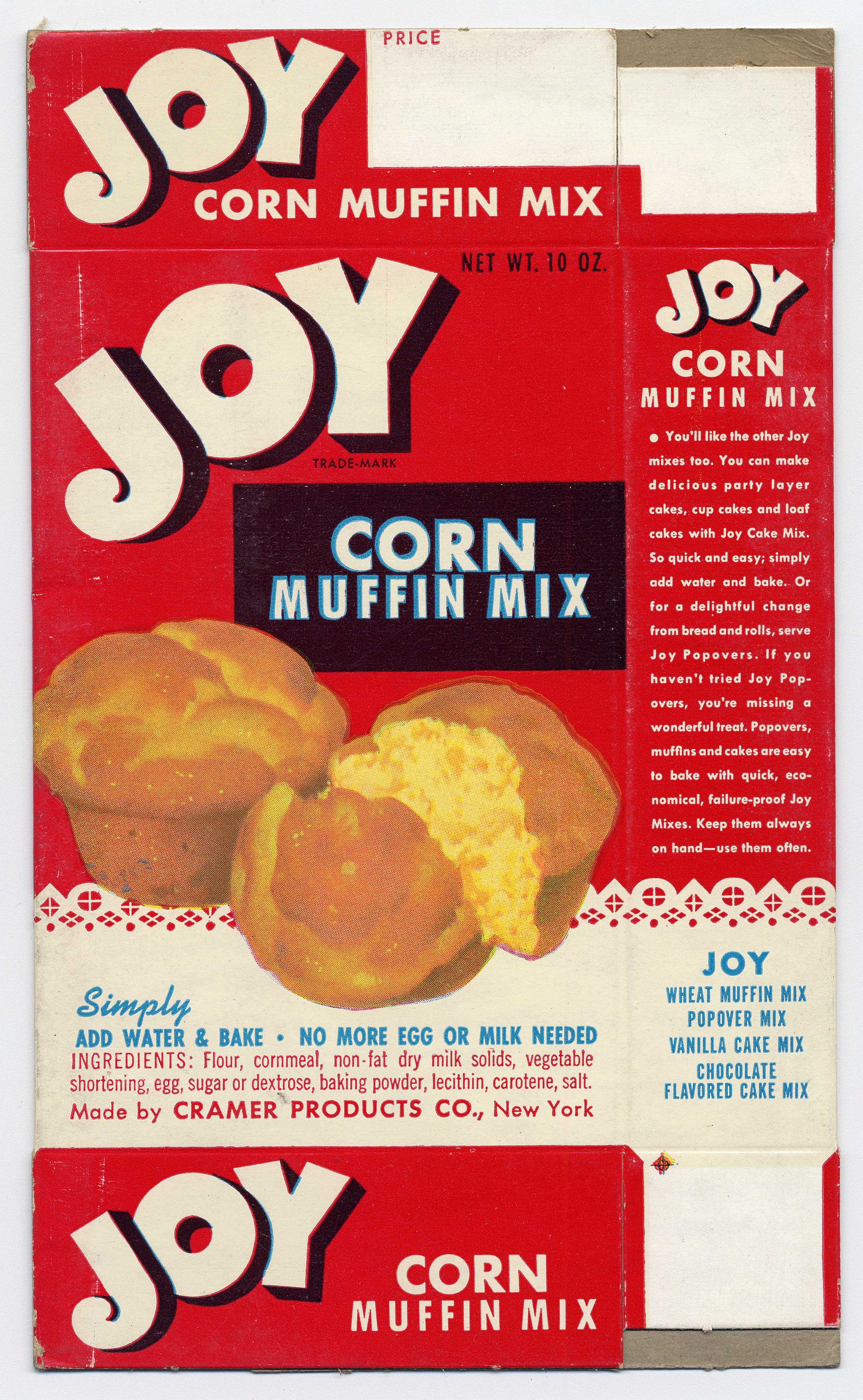 Image of a Joy brand corn muffin mix box