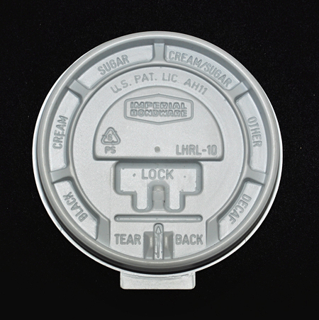 Overhead view of a disposable coffee cup lid made by Imperial Bondware