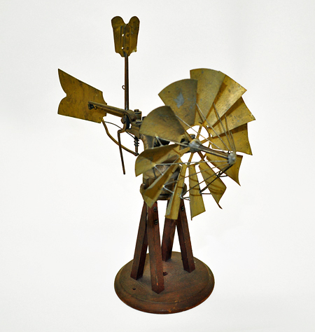 Patent model for windmill by Jacob Longyear and Daniel Clark, 1879. Windmill has 12 vanes and rudder/regulator.