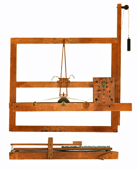 Samuel Morse created his patent model for the telegraph from a wooden artist's canvas stretcher. A clockwork mechanism attached to the stretcher moved a paper tape that was inked in correspondence with the hand-cranked sawtooth device holding the type.