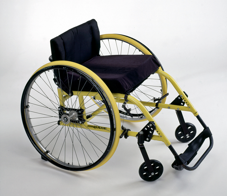 Profile view of the lightweight sports wheelchair invented by Marilyn Hamilton