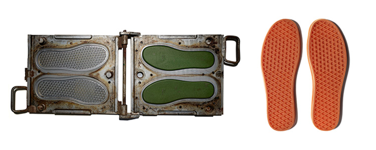 Composite image showing a two-part mold on the left and the finished waffle shoe sole on the right.