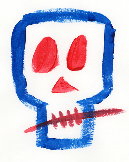 "A watercolor painting on white Bristol board, drawn by Cindy Whitehead while designing her ""Girl Is Not a 4 Letter Word"" skateboard. The painting depicts a royal blue stylized outline of a skull, with red oval eyes, a red triangular nose, and diagonal short red lines for teeth, with a horizontal red line crossing the teeth."
