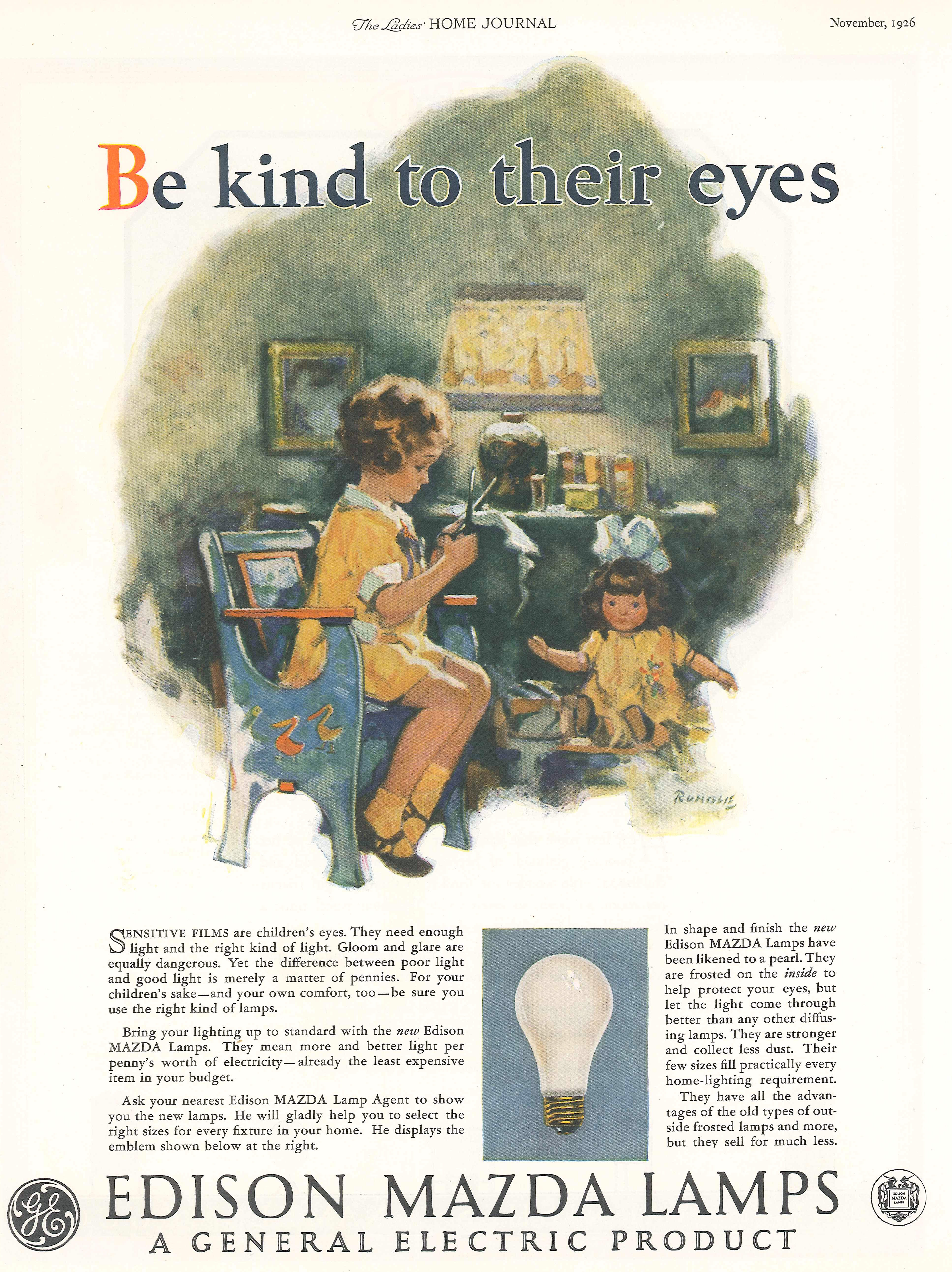 Image of General Electric Advertisement for Edison Mazda Lamp