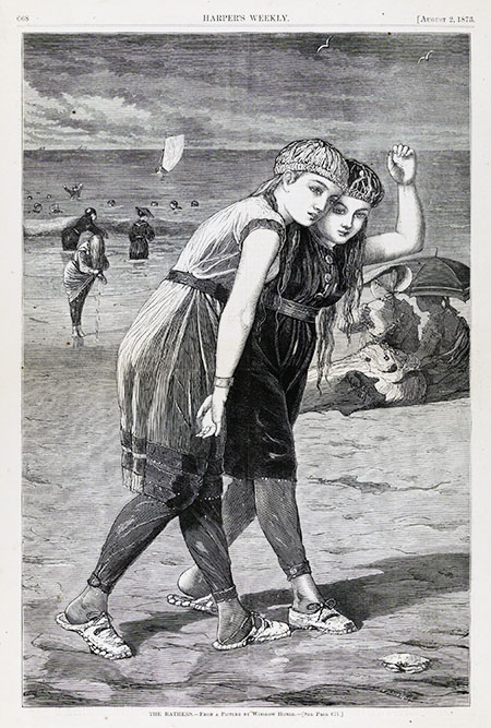 Wood engraving on paper of two young women in profile on the beach