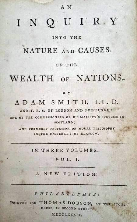 Frontspiece of An Inquiry into the Nature and Causes of the Wealth of Nations by Adam Smith, 1789