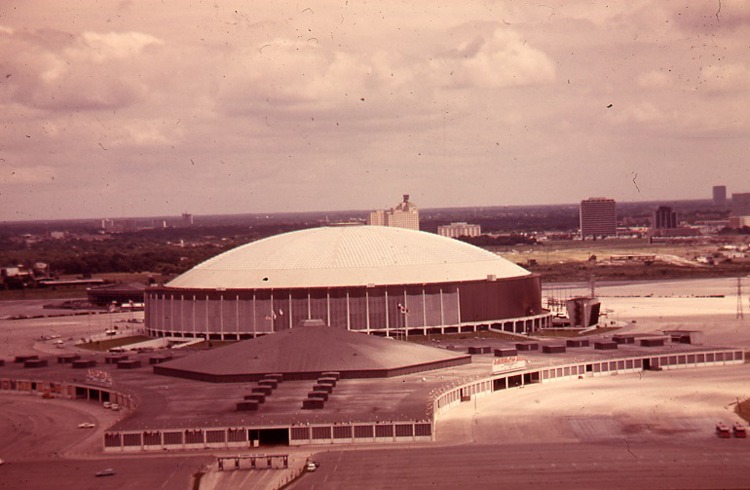 Color aerial view of Houston Astrodome