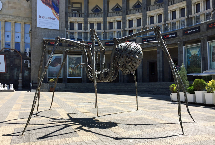 Giant spider sculpture by Ara Alekyan, installed outside Moscow Cinema in Yerevan, Armenia