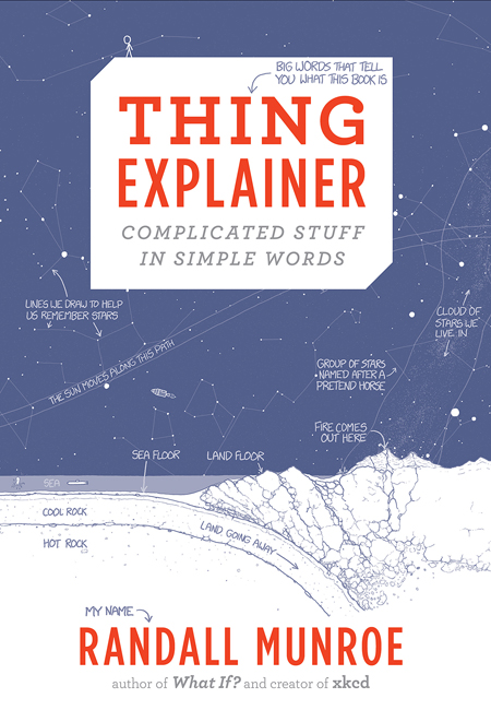 Cover for book Thing Explainer with blueprint-like drawings