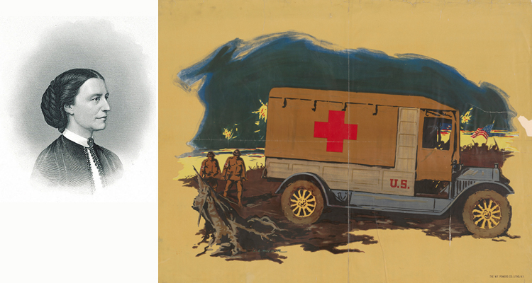 Composite image of a portrait of Clara Barton and a poster of a World War I ambulance