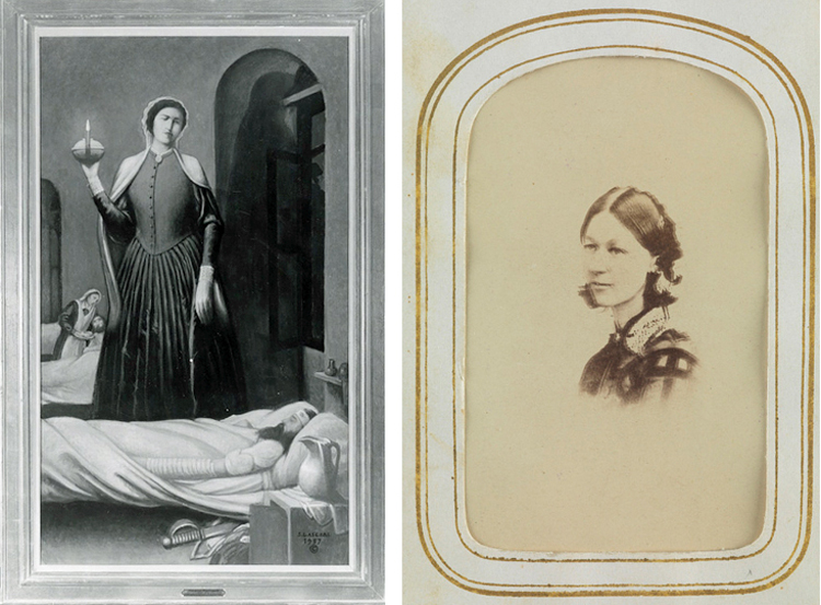 Composite image of engraving of Nightingale with lamp and a photo of Nightingale