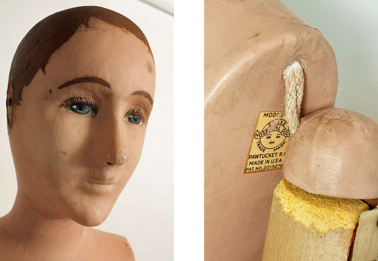 Close-ups of head and armpit of mannequin, showing manufacturer's label
